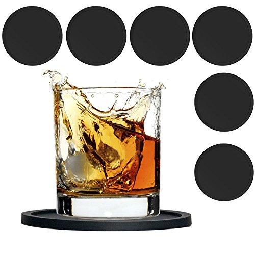 Velidy sottobicchieri, moderno gomma nera gomma tazza sottobicchiere protegge da tavolo e antiscivolo per caffè boccale di birra vino bottiglia di vetro casa e bar ,6pezzi nero