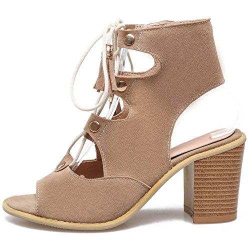 COOLCEPT Damen Mode Schnurung Sandalen Cut Out Slingback Blockabsatz Schuhe Beige