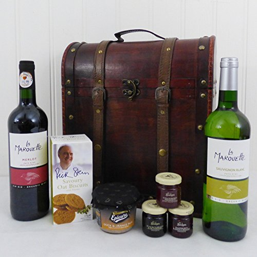 The Deluxe Clarendon Vintage Wooden Wine Chest Gift Food Hamper with 2 x 750ml La Marouette Organic Wines (Sauvignon Blanc & Merlot) Gift ideas for Mother's Day, Birthday and more