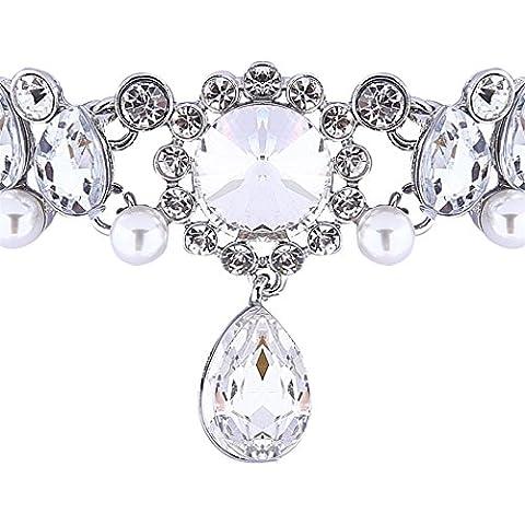 Inserto Girocollo in oro argento perle Cristallo Strass Fiore Moda Collana a forma di goccia