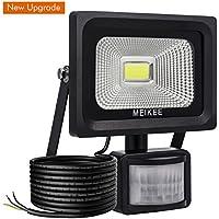MEIKEE Faretto LED con sensore di movimento 10W, IP65 Proiettore LED esterno, Illuminazione bianco freddo 6000K 1000LM, Lampada LED a basso consumo ene