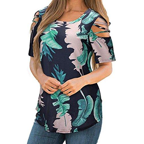 SEWORLD 2018 Damen Mode Sommer Herbst Beiläufige Drucken Kurzarm Riemchen Kalte Shoulder T-Shirt Tops Bluse(Y-b-Marine,EU-46/CN-XL)