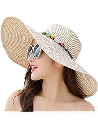 Fablcrew - Sombreros de paja de color liso con ala ancha, plegable, para playa, vacaciones de verano, etc. Color amarillo., paja, beige, 55-58 cm