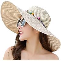 Outflower Modelos Femeninos de Verano Sombrero de sol al Aire Libre Playa Borde Plano de la Playa Gorra de sol de Protección de sol de Color Sólido Sombrero de Paja
