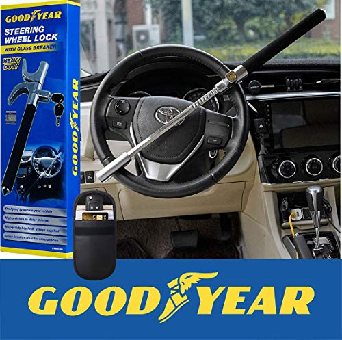 Goodyear Elite Heavy Duty Steering Wheel Lock with 2 Keys Plus RFID Car Fob Signal Blocker Case Pack-Works with All Makes and Models