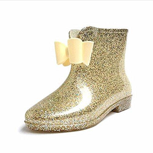 signore di modo primaverili e autunnali stivali da pioggia Gold