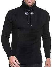 BLZ jeans - Pull homme moulant col montant noir