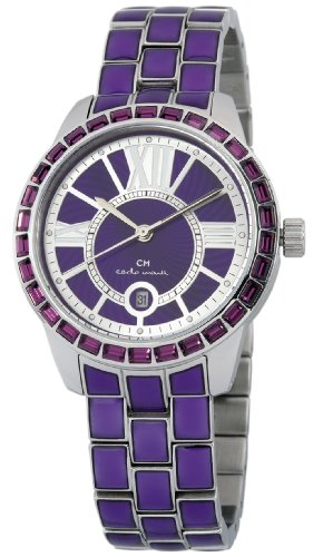 Carlo Monti Cosenza Women's Quartz Watch with Purple Dial Analogue Display and Purple Stainless Steel Bracelet CMZ01-190