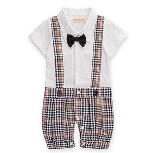 ARAUS-Junge Kind Sommer Strampler Baumwolle Kletterkleidung Kurzarmer Jumpsuit Hosenträger Plaid Fliege für Kinder 3-18 Monate Ltd Plaid