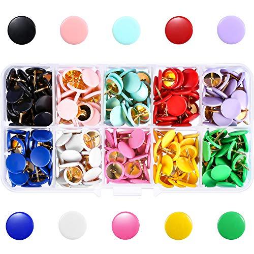 300 Stück Farbige Push Pins, Farbe Kunststoff Rundheit Dekorative Thumb Tacks für Wandkarte, Fotos, Bulletin Board oder Cork Boards, Stahl Punkte 3/8 Zoll, 10 Farben Zeichnung Pins in 10-Grid Box