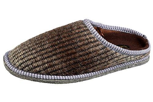 Pantofole Da Uomo In Gibra® Con Suola In Feltro, Testa Di Moro, Taglia 40-46 Marrone Scuro