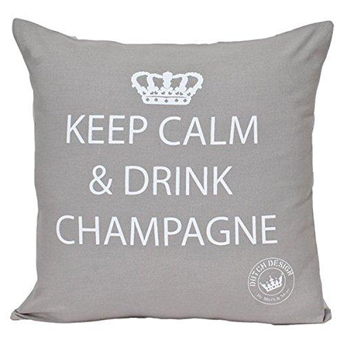 Mars & More - Kissen - Dekokissen - Zierkissen -Keep calm & drink champagne Farbe: Zement 45 x 45 cm -