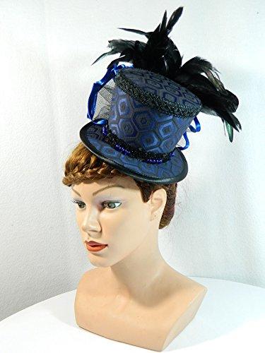 Midi Zylinder blau Jacquard Fascinator Damenhut Hütchen Burlesque Gothic (Schwarze Witwe Beerdigung Kostüm)
