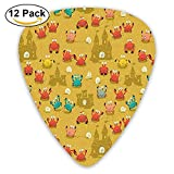 Cartoon Style Crabs Shells And A Sand Castle On Beach Guitar Picks 12/Pack