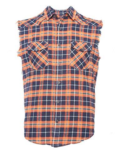 Nutexrol Herren àrmelloses Kariertes Oversize Hemd Freizeithemd Sleeveless Shirt, Orange, 3XL -