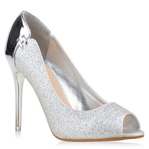 Spitze Damen Pumps Stilettos Lack High Heels Elegant Schuhe 134345 Silber Amares 38 Flandell