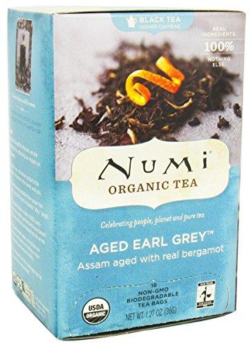 Numi Tea, Organic Aged Earl Grey, Black Tea, 18 Full Leaf Tea Bags, 1.27 oz (36 g)