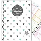 My Sporty Diary (12 Monate) Übungsplaner, Fitnessplaner, Fitness-Tagebuch, handgemacht, A5 (Blue Hearts)