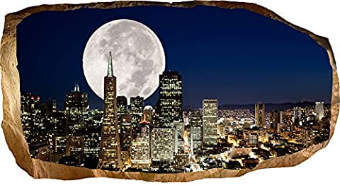 Startonight 3D Mural Wall Art Photo Decor Big Moon in the City Amazing Dual View Surprise Large 82 x 150 cm Wall Mural Wallpaper for Living Room or Bedroom Urban Collection Wall Art
