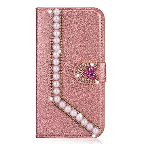 Miagon Hülle Glitzer für Huawei P20 Pro,Luxus Diamant Strass Perle Herz PU Leder Handyhülle Ständer Funktion Schutzhülle Brieftasche Cover,Roségold