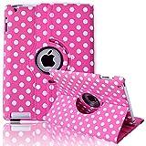 HDE Rotating iPad Case Magnetic Folding Leather Cover Folio Flip Stand for Apple iPad 2 iPad 3 iPad 4 (Pink & White Polka Dot)