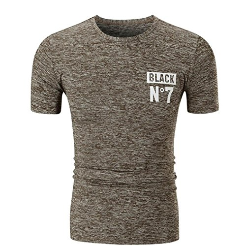 Männer Camouflage-Druck mit Turn-Down Collar❤️Brief Gedruckt Herren ComfortSoft T-Shirt Bleib verstopft Rundhalsausschnitt O Neck Pullover Klassisches Jersey T-Shirt M/L/XL/2XL (Khaki, L)