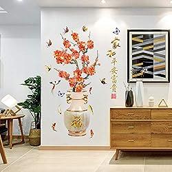 VEQWA Wandsticker Glückliche Blumen Vasen Wandaufkleber Wohnzimmer Eingang Dekor Künstliche Kirschpflaume Pfingstrose Abziehbilder Restaurant Poster, A