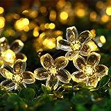 Solar Lichterkette Außen, TryLight 7M 50 Led Blumen Lichterkette lichterkette Aussen für Garten, Weihnachten,Halloween, Party, Balkon deko (Warmweiß)