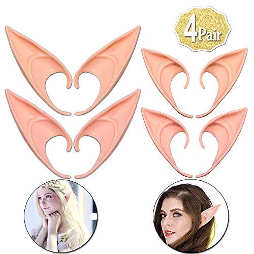 AniSqui Elf Ears Cosplay 12cm, (2 Coppie in Lattice Orecchie da Elfo Fata), Orecchie di Elfo Cosplay, Orecchie di Fata Folletto by