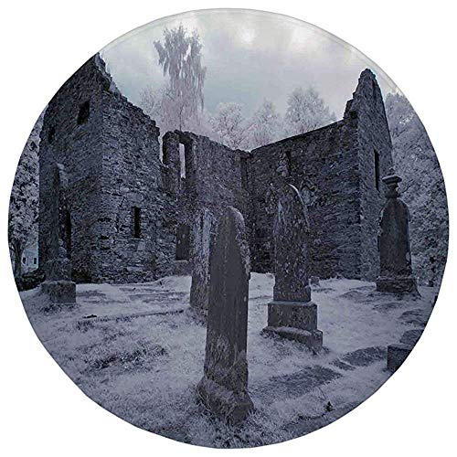 ZMYGH Round Rug Mat Carpet,Gothic Decor,Old Gothic Cemetery Church Tomb Tombstone Mysticism Spooky Forest Art,Flannel Microfiber Non-Slip Soft Absorbent,for Kitchen Floor ()
