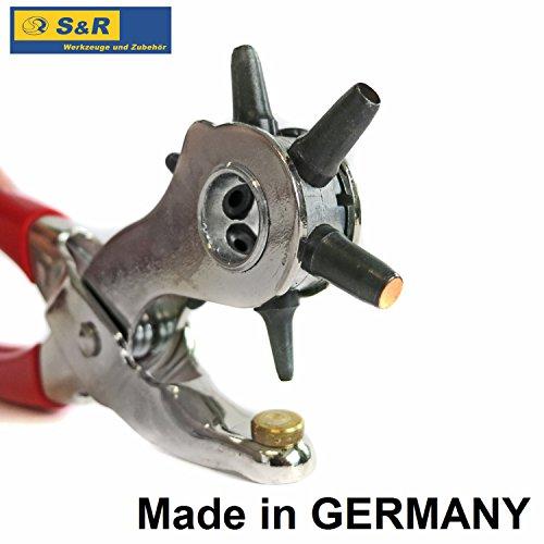 S&R PROFI Revolverlochzange/MADE IN GERMANY/Lochzange mit 6 auswechselbaren Lochpfeifen 2-2,5-3 - 3,5-4 -5 mm | Gürtellochzange Stanzzange