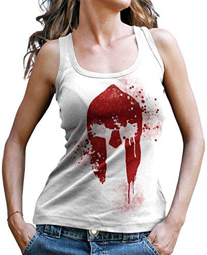 Sparta Tank (Stylotex Damen Tank Top Spartan Helmet Sport T-Shirt Fitness Ladies, Farbe:Weiss;Größe:S)