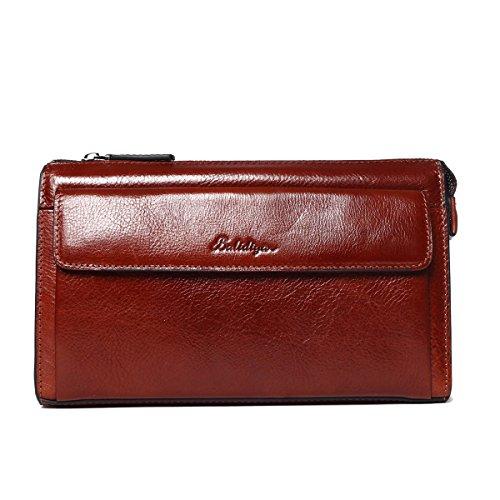 Vintage Leder Handgelenktasche Herren Braun Geschäft Handtasche Herrentasche Groß Geldbörse Echtleder Karten Clutch Tasche mit Reißverschluss für Männer