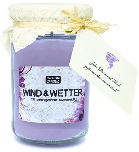 Duftkerze Wind & Wetter mit Lavendelduft im Glas ✮ Vegane Duftkerze mit Lavendelduft zur Entspannung ✮ Beste natürliche Lavendel Kerze im Glas mit Lavendelblüten Duft als Geschenk für Männer & Frauen -