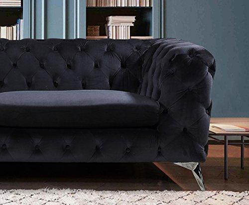 KAWOLA Sofa NARLA Chesterfield Stoff schwarz 3-Sitzer B/T/H: 225x91x72cm