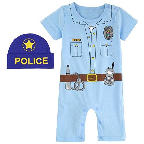 Mombebe Baby Jungen Halloween Piraten Kostüm Strampler mit Hüte (Polizei, 12-18 Monate) (12 18 Monats-halloween-kostüme)
