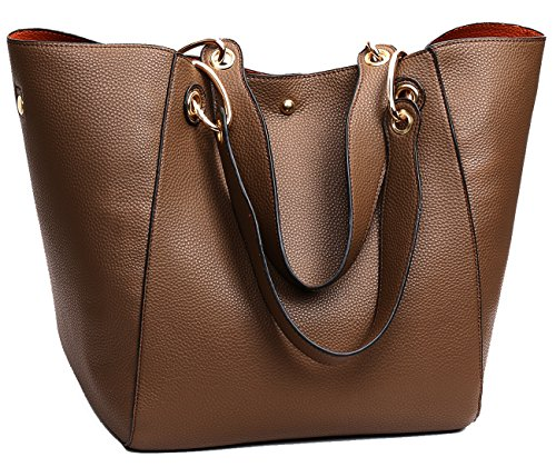 Tibes Moda spalla sacchetto impermeabile borsetta di pelle sintetica B Marrone 2