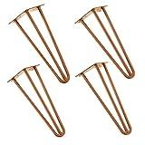[en.casa] Robuste Hairpin Leg Tischbeine im 4er Set aus Stahl - kupferfarben - 35 cm - 3 Streben