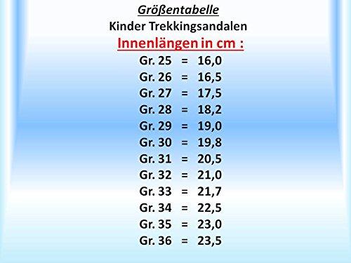 GIBRA® Trekking San Dalen pour enfants, avec fermeture velcro, noir/jaune fluo Taille 25–36 Noir - schwarz/neongelb