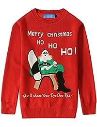 8a481fe7e7f6 SSLR Jungen Weihnachten Pullover Weihnachtspullover Strickpullover Sweatshirt  Rundhalsausschnitt Sweater Pulli mit Merry Christmas