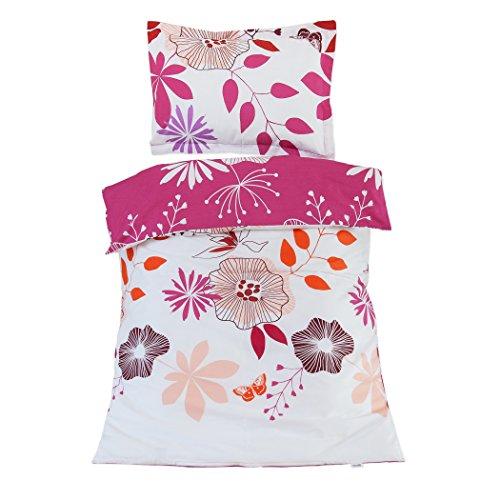 Coquetas flores - Pati'Chou Ropa de cama para cuna, 100% Algodón (funda de edredón 100x140 cm y 1 funda de almohada 40x60 cm)