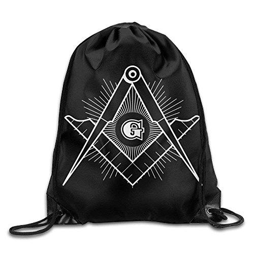PGTry Freimaurerischer quadratischer Kompass Gott Augen Symbol Zeichen Cool Kordelzug Rucksack Tasche