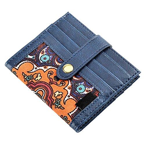 Bifold Mini Wallet Schutzhülle aus Leder für Damen oder Herren, mit Canvas Kreditkarte Halter, Slim Design, passt in Fronttasche, hält 12Karten 4.13 * 3.74 * 0.59IN Blue+Blue