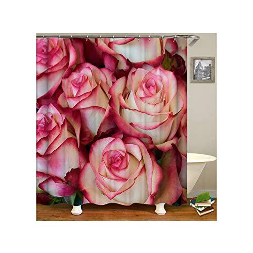 Aeici Duschvorhang 90X180 cm Rosafarbene Rosen-Blumen Polyester Bad Vorhang Fenster Rosa Duschvorhang für Badezimmer