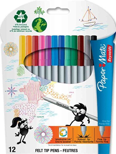 paper-mate-stylo-feutre-pointe-ultra-fine-assortiment-lot-de-12