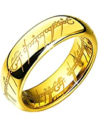 Inception Pro Infinite Anillo de Compromiso - Boda - Banda - Color Dorado - Lord of The Rings - Escritura Interna y Externa - Cosplay Film y TV - Unisex Man Woman and Girl Boys - Lord of The Rings