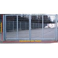 Einfahrtstor 2-Flügelig Verzinkt - Inklusive 2 x 100er-Pfosten / Einbau-Breite: 7m - Einbau-Höhe: 2m - Rahmen: 60 x 30mm / Mattentor Industrietor Gartentor