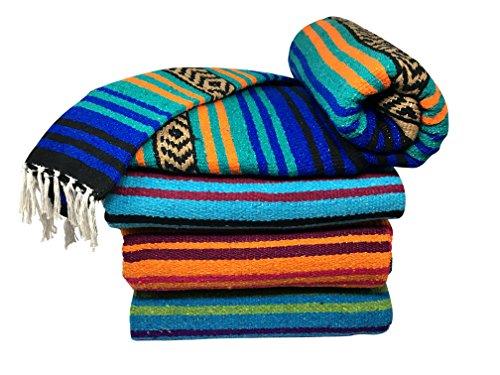 Spirit Quest Supplies Bodhi Mexikanischen Decke Überwurf Decke-Falsa Decke für Yoga, Picknicks, Strand, Gobelin, Camping, Mehr, Oasis: Blue, Teal, Orange, Black, Tan -