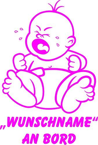 INDIGOS UG - Babyaufkleber / Kinderaufkleber 085 mit Wunschname / Wunschtext an Bord ca. 20 cm Höhe - Autoaufkleber in verschiedenen Farben