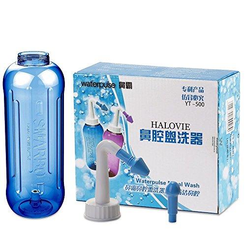 HALOViE 500ml Nasendusche Nasenspülung Dosierlöffel bei Schnupfen / Allergie / Trockener Nase (2 Wechselbare Aufsätze für Kinder + Erwachsene) Blau Nasenspülkanne / Nasenreinigung / Nasenreiniger / Nasenspülset / Nasenspülung bei Erkältung